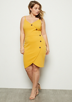 Plus Mustard Asymmetrical Button Down Dress