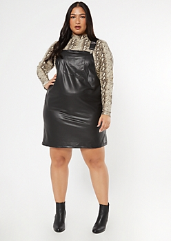 Plus Black Faux Leather Skirtall