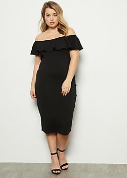 Plus Black Flounce Off The Shoulder Bodycon Dress