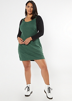 Plus Hunter Green Pocket Skirtall Dress
