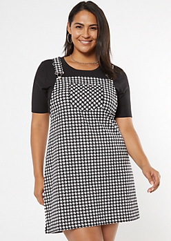 Plus Houndstooth Pocket Skirtall Dress