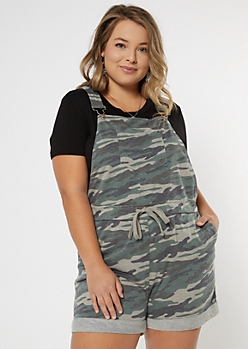 Plus Camo Print Knit Overall Shorts