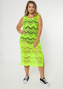 Plus Neon Yellow Crochet Cover Up Midi Dress