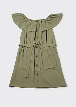 Plus Green Flounce Off Shoulder Cargo Dress