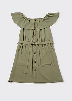 Plus Green Flounce Off Shoulder Cargo Dress