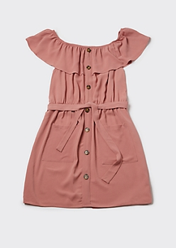 Plus Pink Flounce Off Shoulder Cargo Dress
