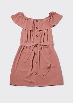 Plus Pink Flounce Off Shoulder Cargo Dress