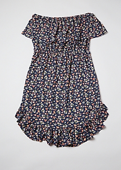 Plus Blue Ditsy Floral Print Flounce Off Shoulder Dress