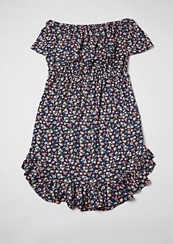 Plus Blue Ditsy Floral Print Flounce Off Shoulder Dress