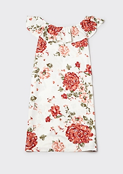 Plus Ivory Floral Print Flounce Off Shoulder Midi Dress