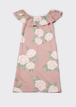 Plus Pink Floral Print Flounce Off Shoulder Midi Dress