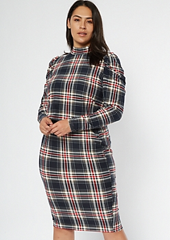 Plus Black Plaid Puff Sleeve Matching Set
