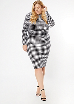 Plus White Houndstooth Puff Sleeve Matching Set