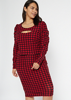 Plus Red Houndstooth Cutout Puff Sleeve Matching Set