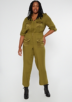 Plus Olive Pocket Long Sleeve Jumpsuit