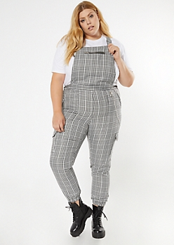 Plus Black Gingham Plaid Zipper Pocket Overalls