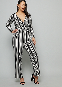 Plus Black Striped Super Soft Wide Leg Jumpsuit