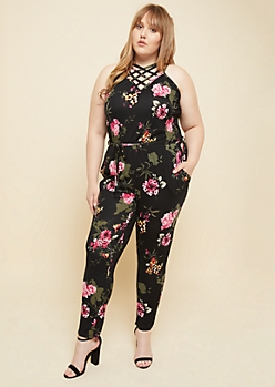 Plus Black Floral Print Crisscross Pocket Jumpsuit