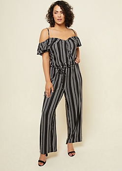 Plus Black Striped Pattern Flounce Cold Shoulder Jumpsuit