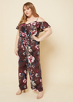 Plus Purple Paisley Print Flounced Cold Shoulder Jumpsuit