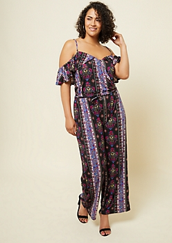 Plus Black Paisley Print Flounce Cold Shoulder Jumpsuit