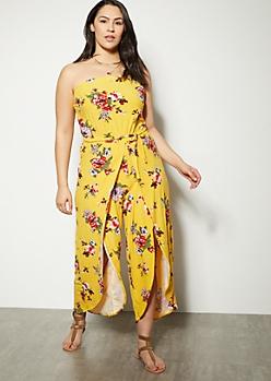 Plus Mustard Floral Print Tulip Hem Leg Jumpsuit