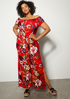 Plus Red Floral Print Super Soft Side Slit Jumpsuit