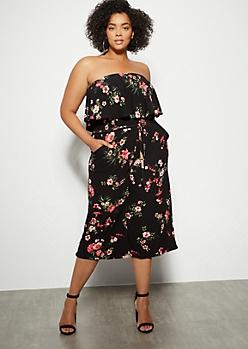 Plus Black Floral Print Strapless Gaucho Leg Jumpsuit
