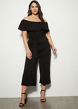 2effb17336ca5 Plus Black Flounce Crop Wide Leg Jumpsuit