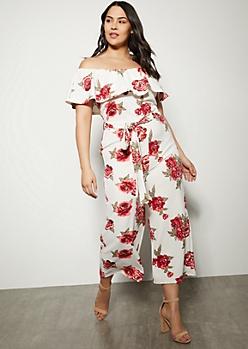 Plus Ivory Floral Print Flounce Jumpsuit