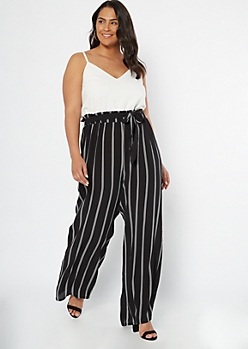 Plus Black Striped Sleeveless Paperbag Waist Jumpsuit
