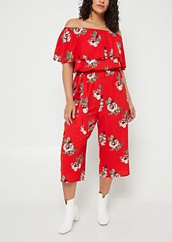 Red Floral Print Off Shoulder Cropped Jumpsuit