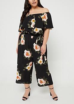 Black Floral Print Off Shoulder Cropped Jumpsuit