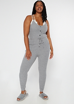Plus Heather Gray Buttoned Super Soft Hacci Jumpsuit