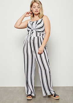 Plus Black Striped Tie Front Wide Leg Jumpsuit