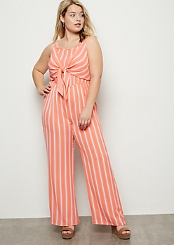 Plus Coral Striped Tie Front Wide Leg Jumpsuit