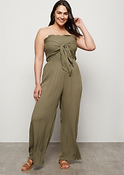 Plus Olive Smocked Tube Top Tie Front Jumpsuit