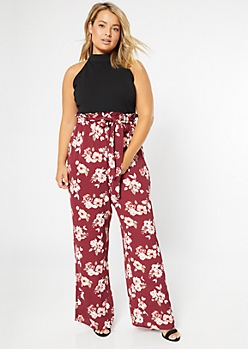 Plus Burgundy Floral Print Duo Jumpsuit