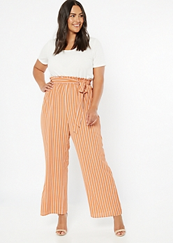 Plus Peach Striped Short Sleeve Duo Jumpsuit