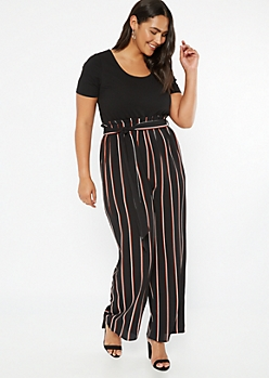 Plus Black Striped Short Sleeve Duo Jumpsuit
