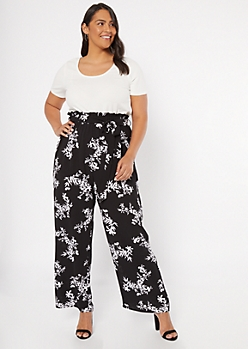 Plus Black Floral Print Short Sleeve Duo Jumpsuit
