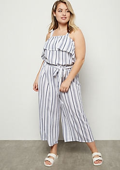 Plus Ivory Striped Flounce Jumpsuit