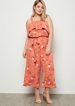 Plus Coral Floral Print Flounce Jumpsuit