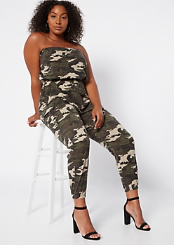 Plus Camo Print Strapless Cargo Pocket Jumpsuit