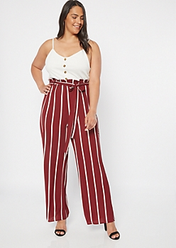 Plus Burgundy Striped Sleeveless Duo Jumpsuit