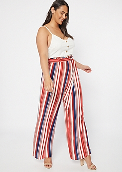 Plus Navy Striped Sleeveless Duo Jumpsuit