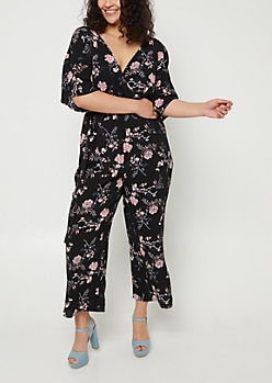 Plus Black Floral Print Wide Leg Jumpsuit