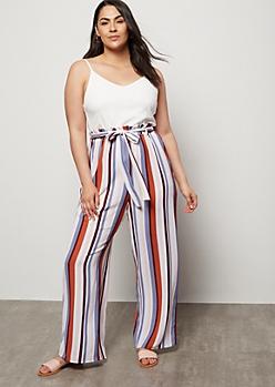 Plus Burnt Orange Striped Contrast Paperbag Waist Jumpsuit
