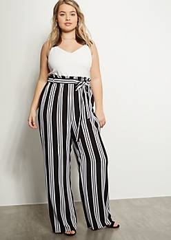 Plus Black Striped Contrast Paperbag Waist Jumpsuit