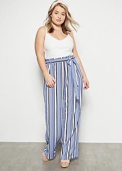 Plus Blue Striped Contrast Paperbag Waist Jumpsuit